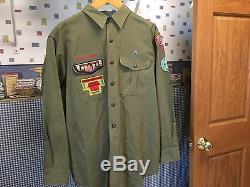 Vintage Boy Scouts Uniform Pants Shirt Jacket 1960's Scout Patches Used