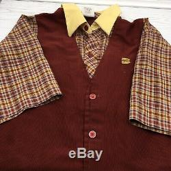 Vintage Burger King Employee Uniform Set Shirt Pants Corduroy Unisex Large L
