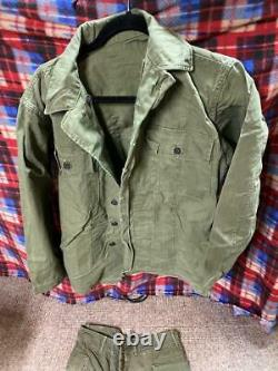 Vintage HBT Herringbone 13 Star Button Shirt & Pants 1940s US Army WWII Size M