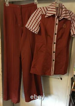 Vintage McDonald's 1976 Uniform Shirt & Pants Womens Size SMALL