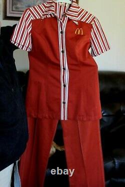 Vintage McDonald's Uniform Shirt & Pants 1976 Womens Small with badges