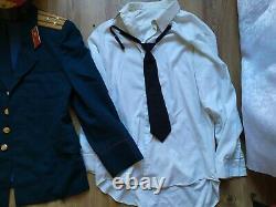 Vintage Soviet Officer Army USSR Uniform Jacket Military CAP pants shirt