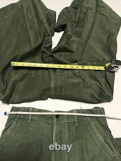 Vintage US Military Mens Army Green Cotton Sateen Shirts/Pants OG-107 Lot