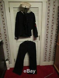Vintage US Navy Sailor Cracker Jack PANTS/CAP/ 2 Top Shirts & NECKERCHIEF Wool