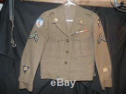 Vintage WW2 US Army Uniform Lot Corporal Wool Jackets Pants Shirt Puttees Papers