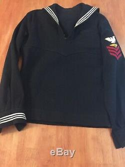 Vintage WW2 US Navy Naval Uniform Enlisted Lot Blues X 3 Cracker Jack Shirt Pant