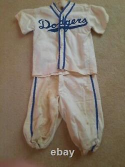 Vintage children's DODGERS baseball uniform SHIRT & PANTS size 5/6 FLANNEL