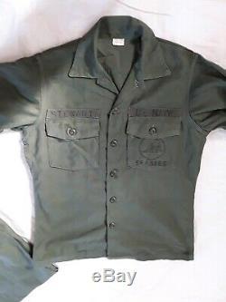 Vintage1960s US Navy Seabees Shirt/ pants Vietnam Sateen OG 107 PANTS 34X33