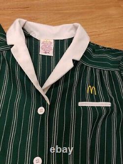 Vtg 1983 Original ladies green McDonald's Uniform Shirt Pants Visor Hat sz S