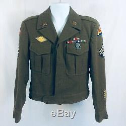 Vtg 40s WW2 Complete Uniform, Jacket Shirt Pants Hat. With Medals Great Shape