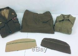 Vtg 40s WW2 Complete Uniform, Jacket Shirt Pants Hat. With Medals Great Shape