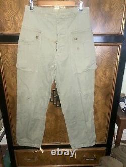 Vtg 40s WWII USMC US P44 HBT Herringbone Monkey Trousers Pants & Matching Shirt