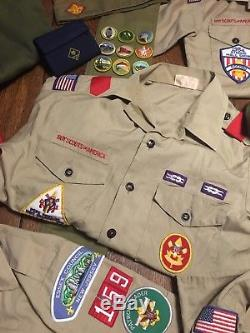 Vtg Lot Boy Scouts Uniforms Pants Shirts Merit Patches Belts Hats More