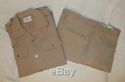 Vtg NEW Vietnam Era US Army Summer Khaki Tan Dress Shirt (M) & Pants 1968