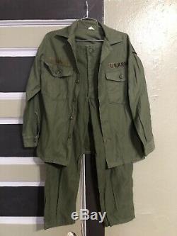 Vtg Vietnam War Sateen Og-107 Us Army Uniform Shirt Pants Sz Xs S / 30x26