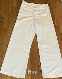 Vtg WWII US Navy Sailor White Uniform 3 Pcs Pants Shirt Hat -All withName Stencil