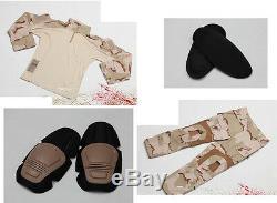 WARARMOR ALLWIN US Tri-Desert Camo Combat Shirt Pants Elbow Knee