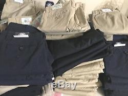 WHOLESALE LOT 100 SCHOOL UNIFORM CLOTHING PANTS SHIRTS BOYS GIRLS NAVY white