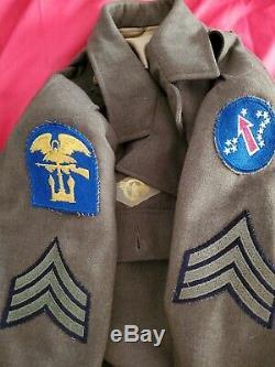WW2 Army Amphibious Pacific Service Uniform Jacket Shirt Hat Cap, Pants, Belt