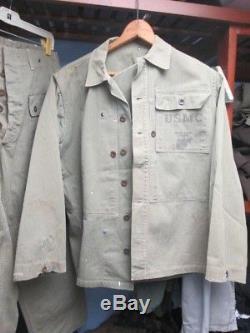 WW2 USMC HBT Harringbone Twill Fatigue Shirt AND ONE POCKET MONKEY PANTS SET