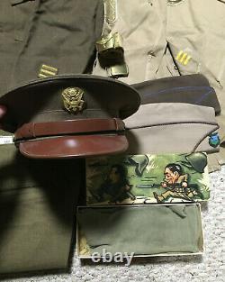 WW2 WWII Army Air Force Uniform Ike Shirt Pants Socks Hats Awards Field Gear Lot