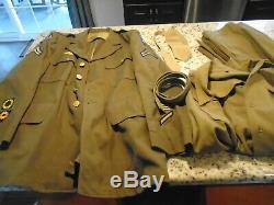 WW2 WWII Rare US Army XL 48R Uniform Pants Shirt Tie Coat Belt