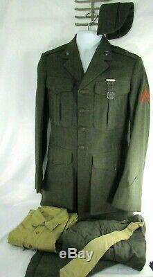 WWII 1945 USMC Dress Wool Uniform Jacket Pants Hat Shirt Sterling Rifleman Badge