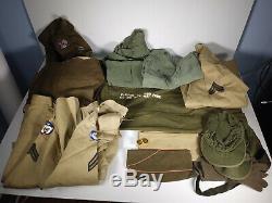 WWII/Korean War Era Uniform Lot Alaska Defense Command Pants, Jacket, Shirt, Hat