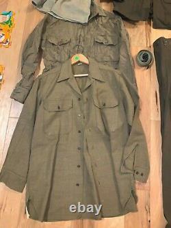 WWII US ARMY GI Uniform TUNIC SHIRT PANTS Belt Tie OVERSEAS Cap Hat LOT