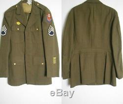 WWII US ARMY Wool Dress Jacket Pants Shirt UNIFORM Patches 38L Staff Sgt ADSEC