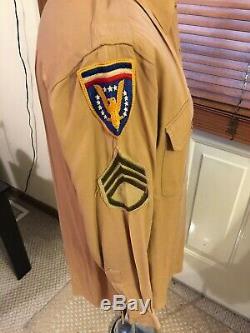 WWII US Army 10th Mountain Division HEADQUARTERS ETO Tan SHIRT PANTS Uniform