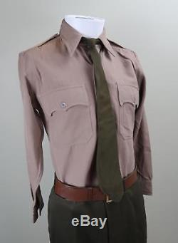 WWII US Army officer pinks greens uniform shirt & tie with pants trousers USAF Vet