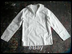 WWII US Navy White Uniform Button Fly Pants Shirt Hat Vintage Sailor 36 X 32