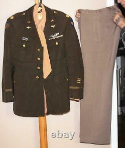 WWII USAAF PILOT BULLION 9th AF MAJOR PINK SHIRT TIE PANTS OLIVE DRAB TUNIC