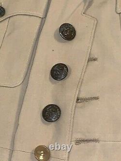 WWII USMC Marine Corps Officer Tan Khaki SUMMER UNIFORM Tunic Pants Hat Shirt