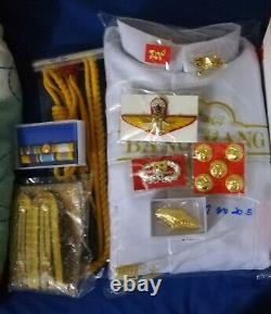 White UNIFORM Soldier shirt, suit, pants, Pins, Ranks, Wing Thai army Military