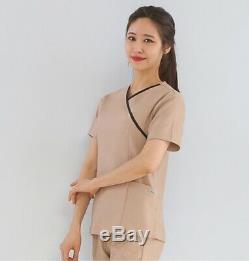 Women Set Hospital Uniform Scrubs Top Pants Zipper up Shirt V neck Nurse PT OT