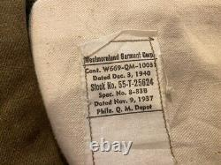Ww11 Us Army Shirt With Pants Dated 1940 Has All The Info On Size And Has Wind F